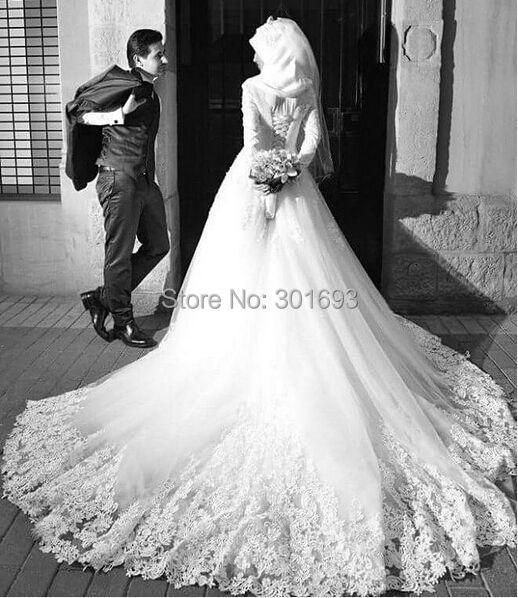 OWD913 Hochzeitskleid Robe de Mariage With font b Hijab b font Veil Venice Lace Appliqued Long