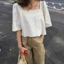 Chemisier en coton et lin pour femmes, blouse droite, boutons latéraux, été