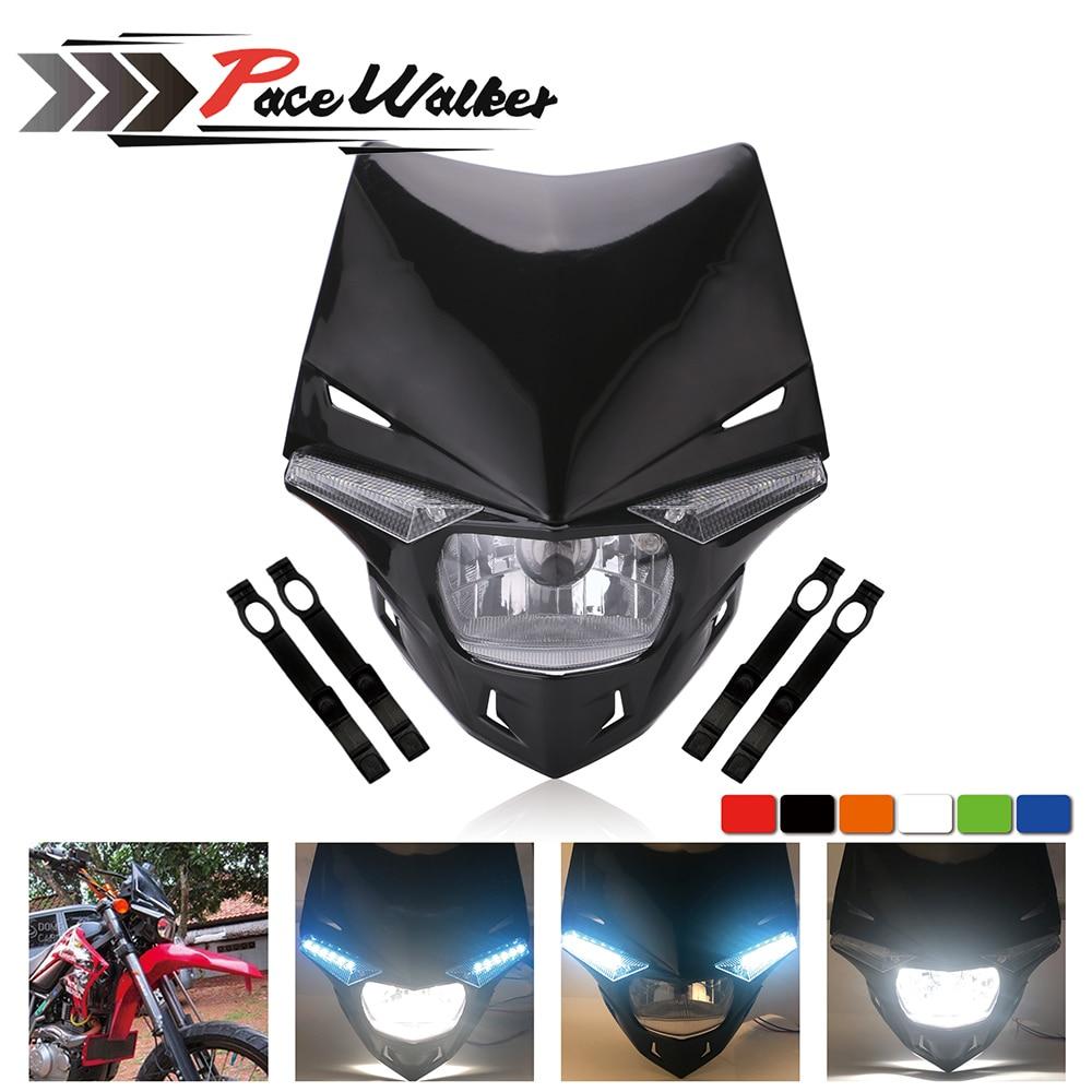FREE SHIPING Universal Motorcycle Headlight Enduro Head Light Supermoto Motocross Dual Sport For KTM EXC SX SXF XC MX SMR