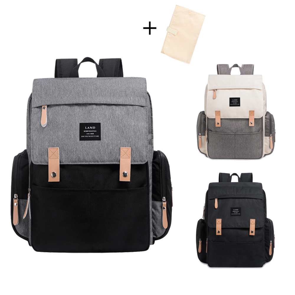 Land grande capacité sac à couches mode voyage sac à dos pour maman et papa solide momie sacs poussette organisateur sac pour les soins de bébé