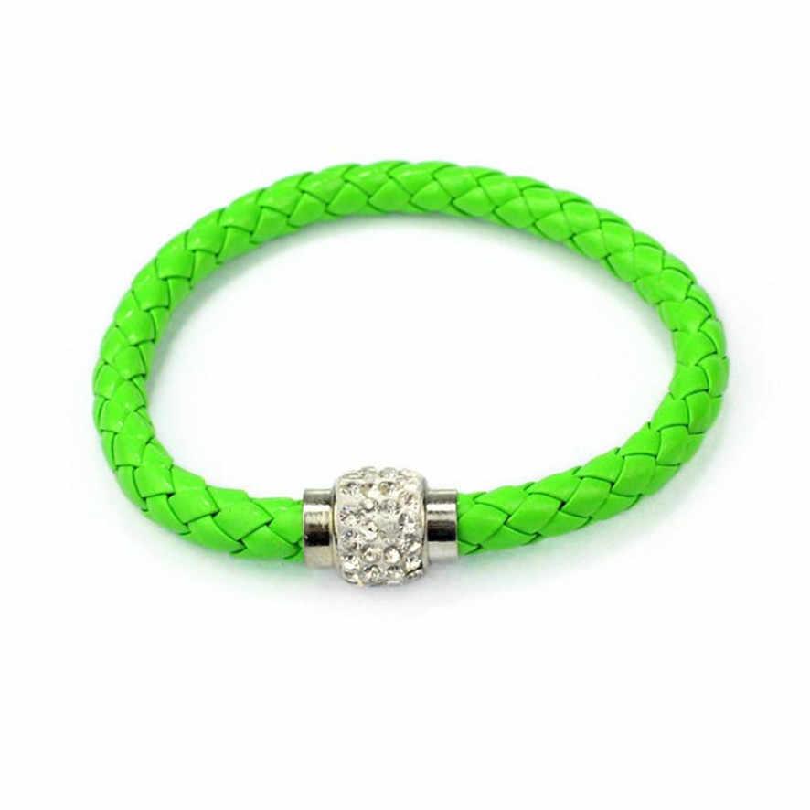 2018 bransoletki dla kobiet mężczyzn marka 1PC opaska na nadgarstek magnetyczny Rhinestone klamra skórzane bransoletka Wrap bransoletka # # # #