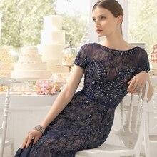 Mode marineblau lange abendkleider 2017 o neck kurze hülse bördelte spitze schlanke frauen pageant kleid für formale prom party