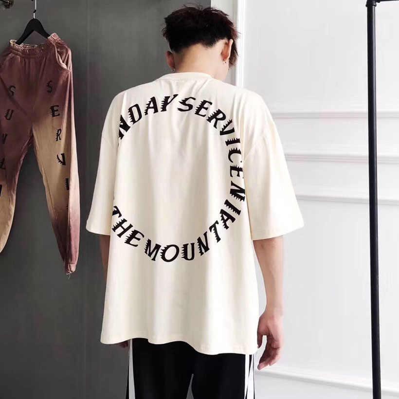 7de06131 Purple Letter T Shirt Kanye West Oversize Loose Design Tshirts Sunday  Service Holy 100% Cotton