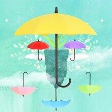 3pcs Umbrella Shape Self Adhesive Door Hook Hanger Bag Keys holder hooks Bathroom Kitchen Sticky Holder Pattern Wall Sticker
