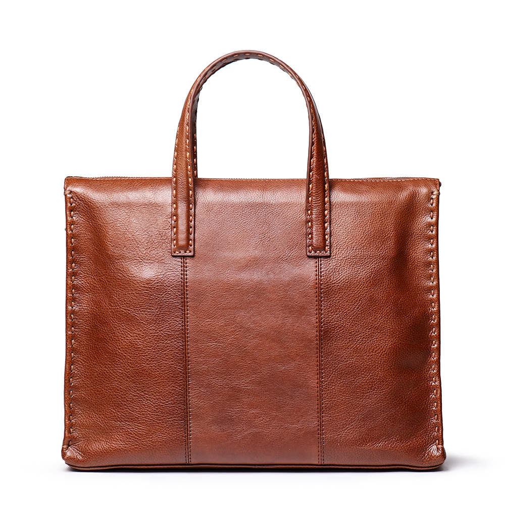 Genuine Leather Brown Men Cross Section Briefcase Business Casual Male Tote Handbag Shoulder Crossbody 14 Inch Notebook Bag