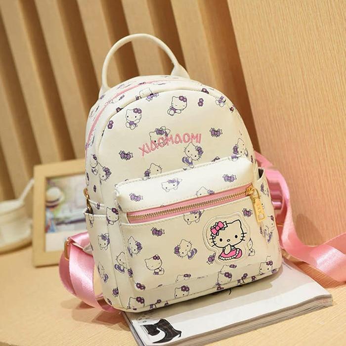 ФОТО PECKHAMRYE cute Hello Kitty Children School Bags For Girls Kids Schoolbag Cartoon pu leather Kids School Backpacks 3colors