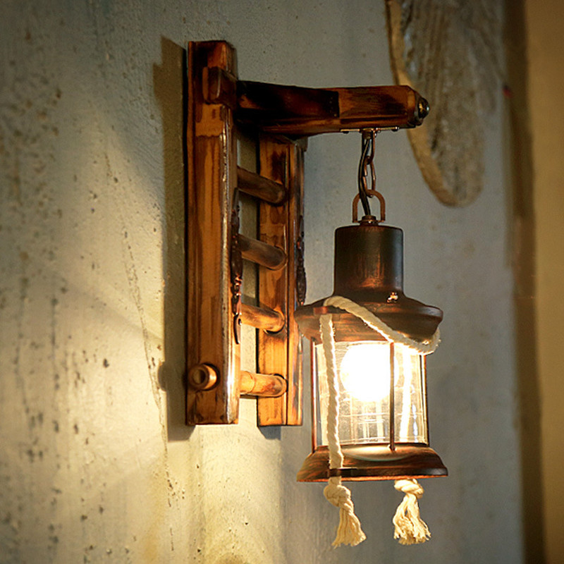 Retro Mediterranean Style LED Wall Lamp Loft Industrial Mounted Sconce Wall Light for Restaurant Aisle Bamboo Iron Fixtures led outdoor wall sconce wall mounted lamp garden porch light bedside lamp balcony sconce aisle light vintage wall sconces