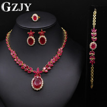 GZJY European Crystal Red AAA Zircon Fashion Wedding Jewelry For Women Necklace Ring Brecelet Earring Accessories Gifts