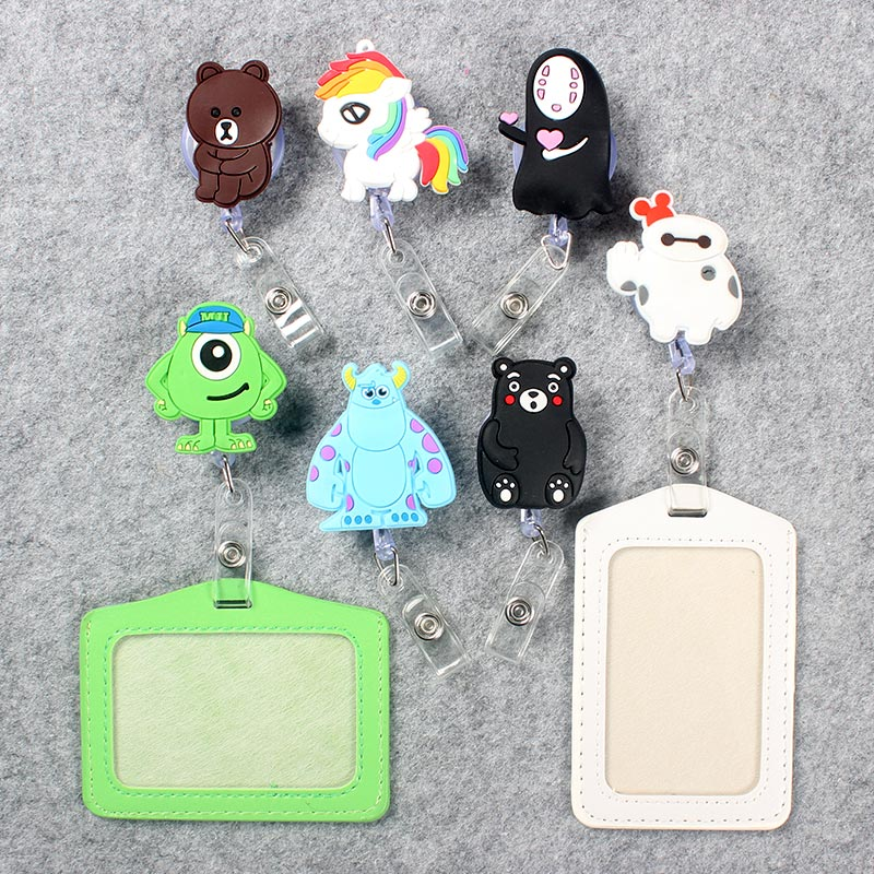 Cartoon Badge Scroll Nurse Office Reel Cute Character Scalable School Student Nurse Exhibition ID Business Card Badge Holder
