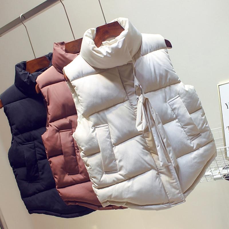 2019 Women Sleeveless Vest Winter Short Paragraph Down Cotton Padded Jacket Female Veats Mandarin Collar Sleeveless Waistcoat