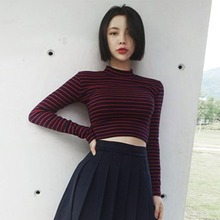 Womens Fashion Harajuku Striped Slim Cropped Top T-shirt  Korean Style Long Sleeve T Shirts