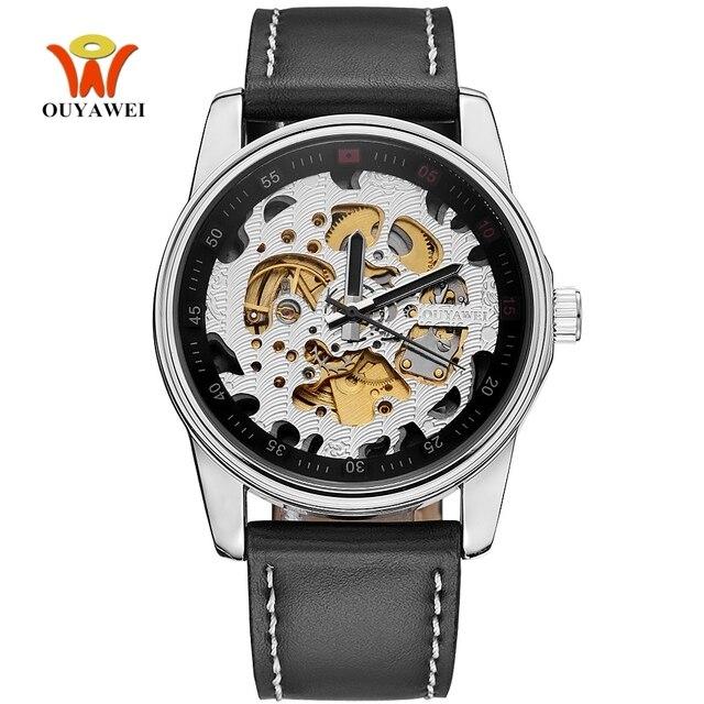 032fe7bf9e4 Relogio OYW Marca Homem Relógio Mecânico Automático Homens Relógio Relógio  Pulseira de Couro Moda Relógio de
