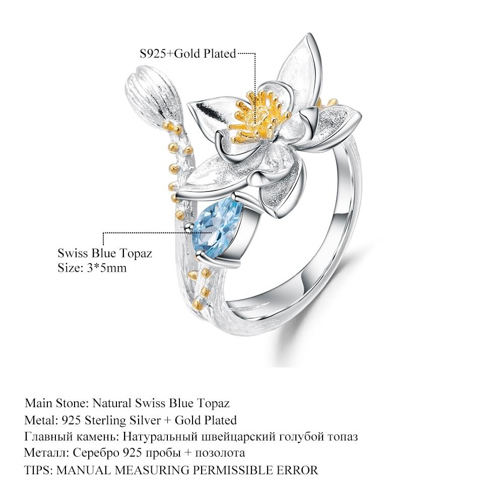Image 5 - GEMS BALLET Natural Swiss Blue Topaz Gemstone Ring 925 Sterling  Silver Handmade Flowers Adjustable Open Rings for Women BijouxRings