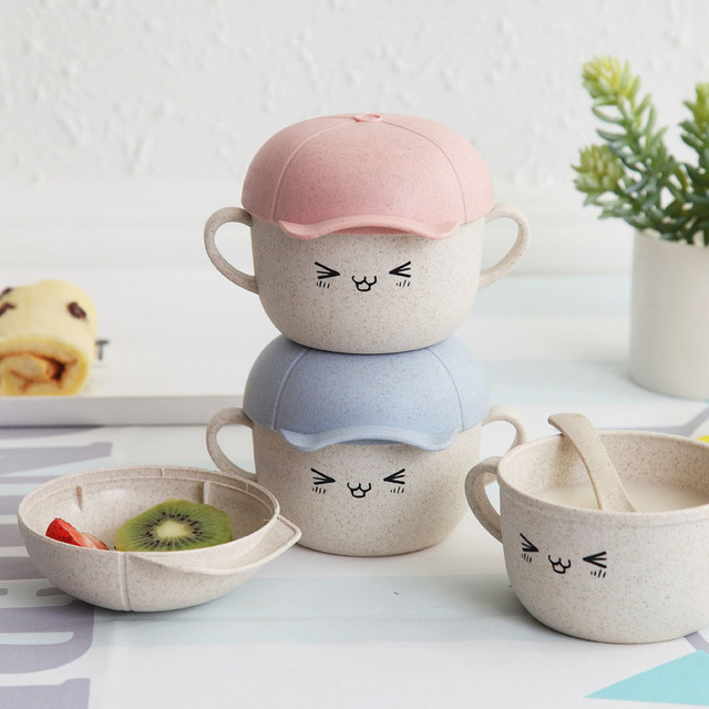 Baby Bowl Set Microwave Available New Baby Infant Cute Boy Girl Hat Feeding Plate Fruit Snack Dishes Kids Children Tableware Set