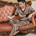 Siriusha Sleepwear Male Silk Short sleeve Length pants Thin silk Spring and Autumn High quality silk is only Chinese style