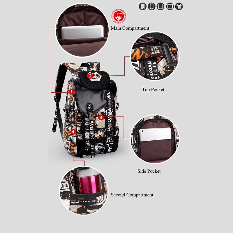 Outdoor Leisure Canvas Backpack Trendy Graffiti Sports Bag For Teen Kids  Youth Travel Hiking Bicycle Rucksack Fitness Gym Bag-in City Jogging Bags  from ... e78a662ba1