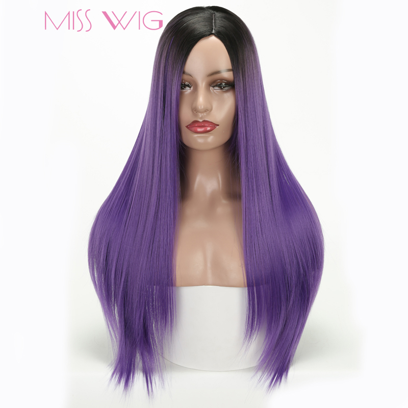 MISS WIG Long Straight Wigs Synthetic Hair Pink Purple Black Ombre Red Green Grey Colors Wig For Women High Temperature