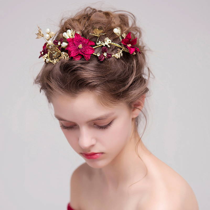 Handmade Red Flower Bridal Hairstyles Gold Leaves Butterfly Wedding Headband Hair Accessories Bride Pearl Headpiece Party