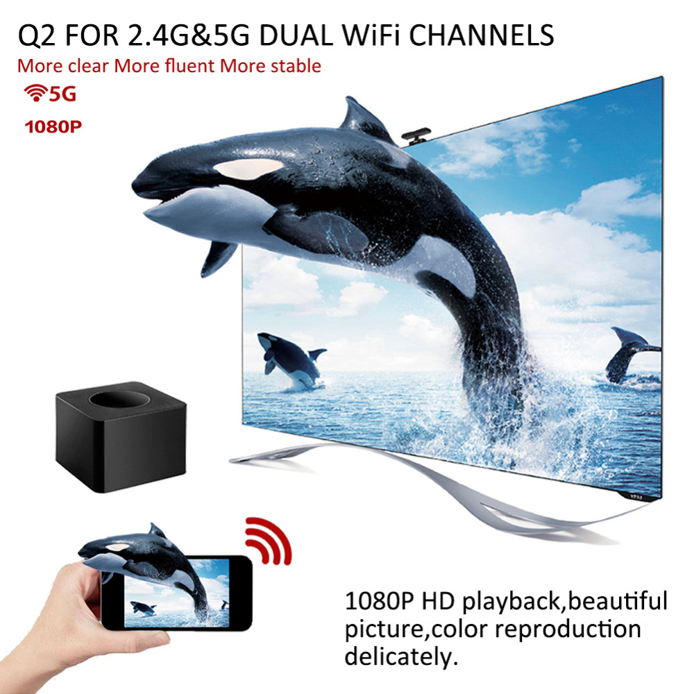 New High-tech HDMI Q2 RJ45 2.4G& 5G Dual-band Wireless Wifi Display Dongle Screen Mirroring Projector with Ethernet Port весы high tech 40 x 20 g m2