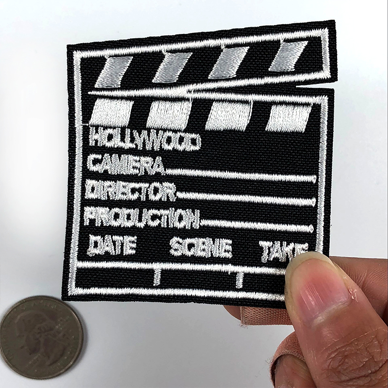 1PCS Movies Clapper board Action DIY Patches Embroidery Creative Badge Sew & Iron On Clap-stick Embroidered Patch for Clothing