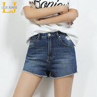 2018 LEIJIJEANS NIEUWE Collectie Korte Voor Vrouwen Demin Korte Hoge taille Shorts Blauw Zomer Korte Ripped Jeans S-6XL Plus Size vrouwen