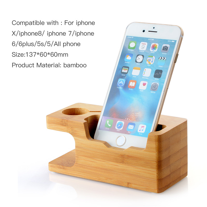 wood Cell Phone Charger Dock with Watch Bamboo Holder Desk Wood Charging Stand for Apple Watch 38mm 42mm IPhone 7 6s Plus Phone ...