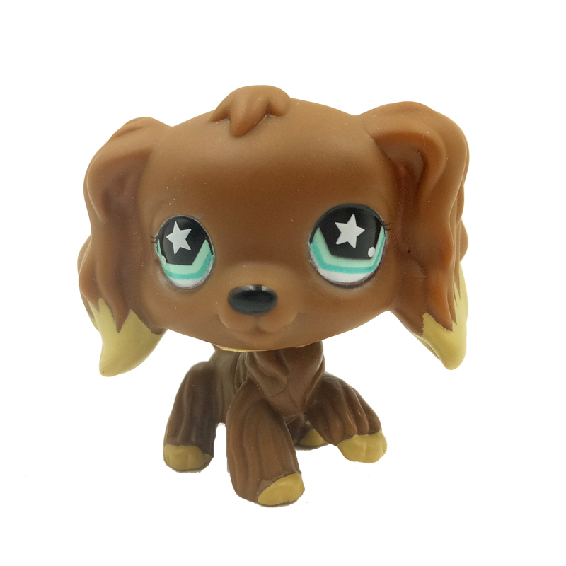 Real Original Collection Figure Pet Shop Toys Cocker SPANIEL #960 Chocolate Brown Dog With Star Eyes