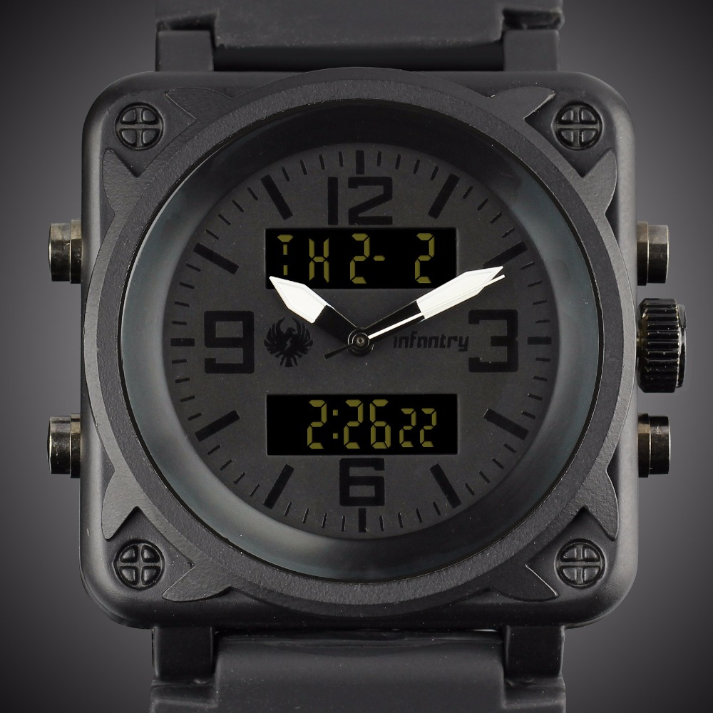 167ad632e395 INFANTRY Aviator Watch Square Face Mens Quartz Digital Wristwatches Navy Sports  Watches Black Rubber Watchband Relogio Masculino-in Sports Watches from ...