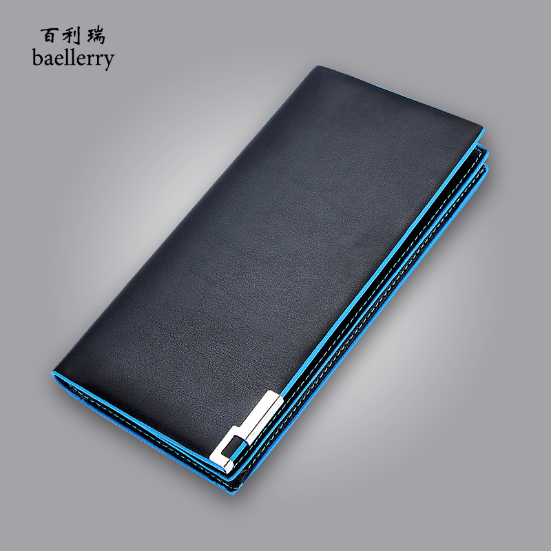 Baellerry Fashion Men PU Leather Blue Edge Long Wallet Card Holder Coin Purse Money Pocket Pochette Clutch Bag Passport Cover lorways 016 stylish check pattern long style pu leather men s wallet blue coffee