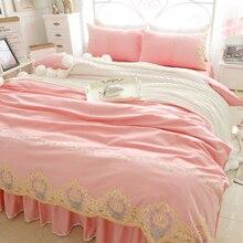 Coreano de Encaje de Color Rosa Edredón Codician Queen Doble King Size 4 unids Princesa Juegos de Cama de Las Niñas de La Boda Ropa de Cama Falda de La Cama 100% algodón