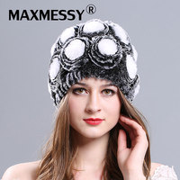 MAXMESSY Autumn And Winter New Rabbit Hooded Floral Cap Russian Hot Sale Hat