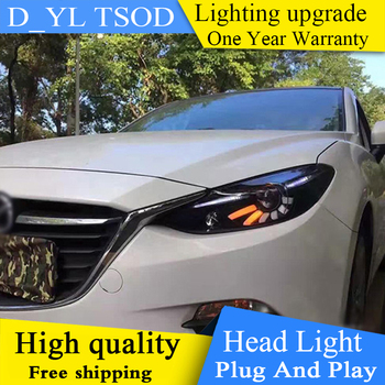 DY_L Car Styling for 2014 2015-2017 Mazda 3 Axela LED Headlights Mazda 3 Axela LED Lens Double Beam H7 HID Xenon bi xenon lens