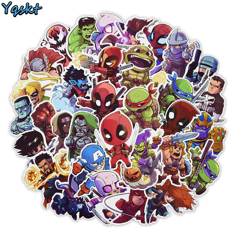 Hot 50 Pcs Super Hero Sticker For Laptop Skateboard Motorcycle Home Decor Car Styling Vinyl Decals Doodle Cool DIY Stickers