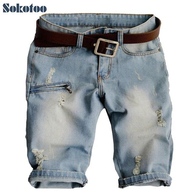3579d478fe412 Sokotoo Men s plus size fashion hole denim shorts Male casual zipper rivet  motorcycle jeans for man Capri Breeches Free shipping