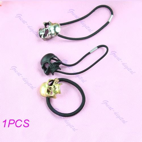 1PCS Punk Skull Hair Tie Cuff Wrap Ponytail Holder Hair Band Rope T52