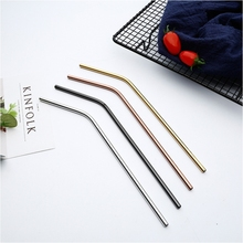 Metal straw 304 stainless steel reusable eco-friendly color straight bend cleaning brush bar party accessories 20Oz