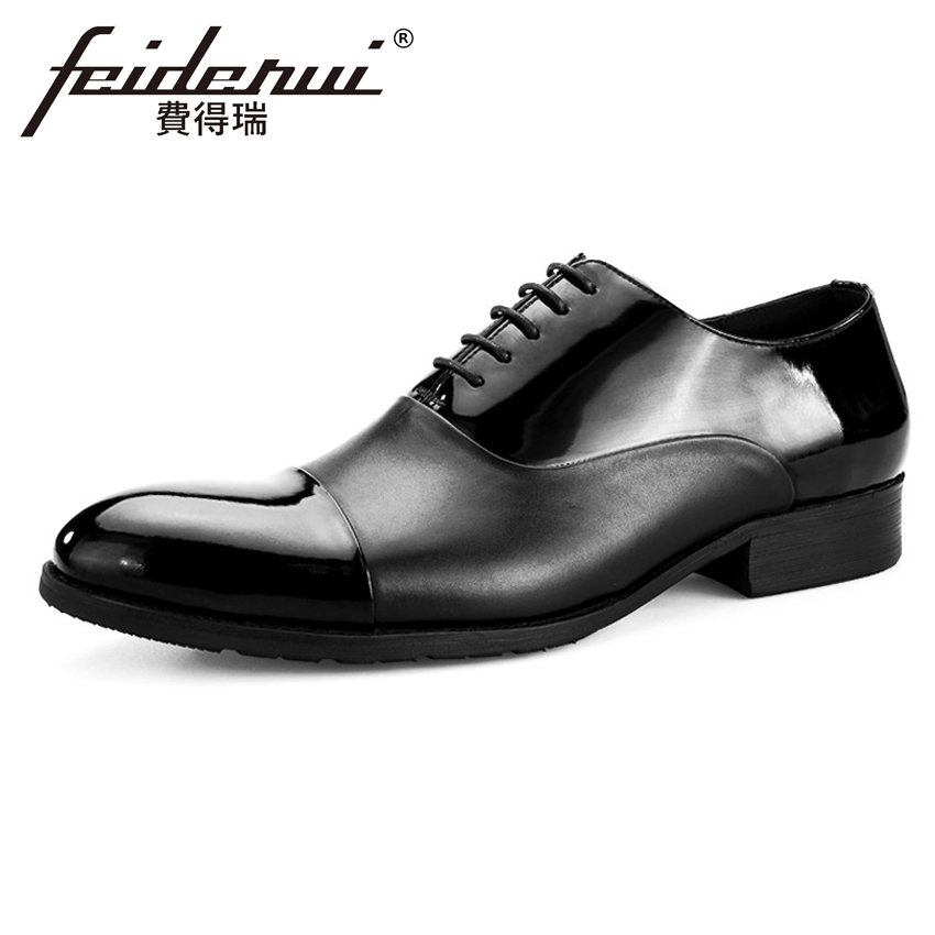 New Arrival Patent Leather Men's Formal Dress Oxfords Round Toe Lace-up Male Party Flats Luxury Designer Shoes For Man BQL65 mycolen men leather shoes breathable lace up flats patent leather male dress shoes blue oxfords shoes zapatos de boda hombre