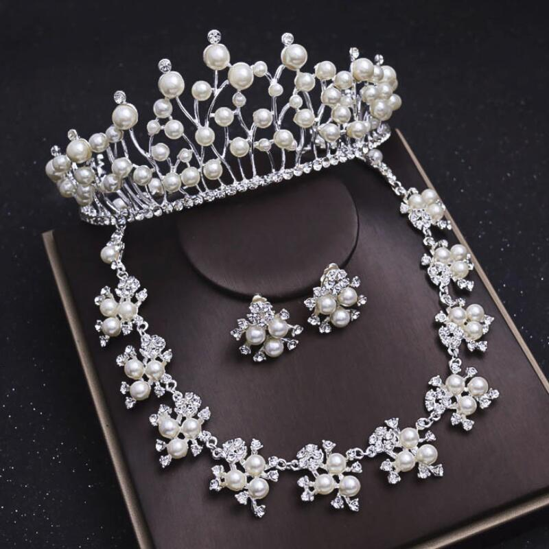Потрясающие жемчуг Diamond Свадебные украшения для волос набор Диадемы серьги и Цепочки  ...