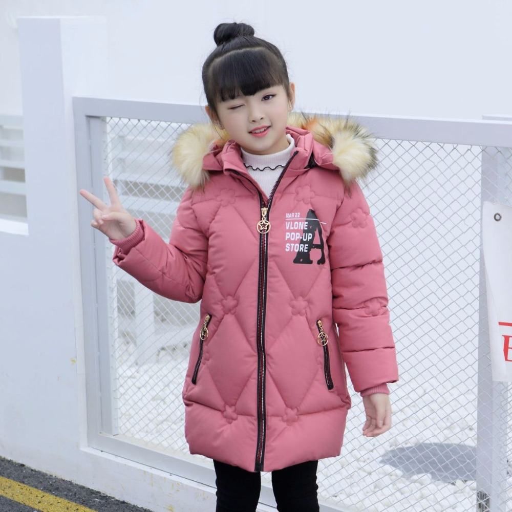 Winter Jackets for Girls Coats Cotton Hooded Warm Big Girl Jacket Teenage Girls Clothing Printed Letter Long Children Outerwear teenage girls winter fleece long coats and jackets kids double breasted warm padded cotton solid jacket girl children clothing
