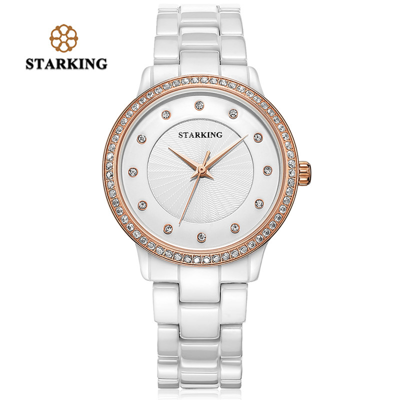 STARKING Women Clock Quartz Watch Luxury Diamond Bracelet Watches Geneva White Rose Gold Rhinestone Ceramic Wristwatches Dress игрушки животных на электро радиоуправлении ugobe pleo
