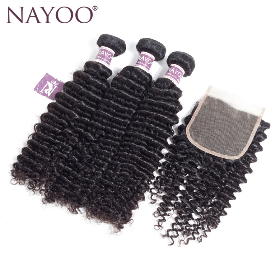 NAYOO Mongolian Kinky Curly Lace Closure 100% Human Hair Bundles With Closure 4*4 Free Part Natural Color Non Remy Hair Weaves