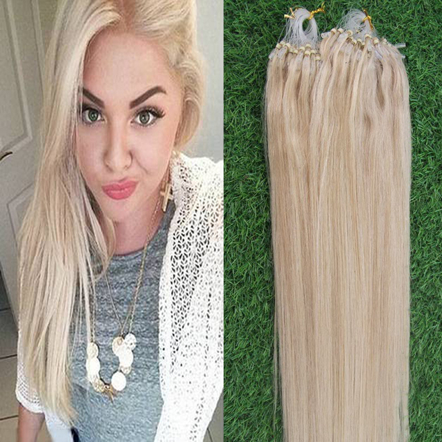 60 Platinum Blondemicro Loop Ring Links Virgin Remy Straight Human