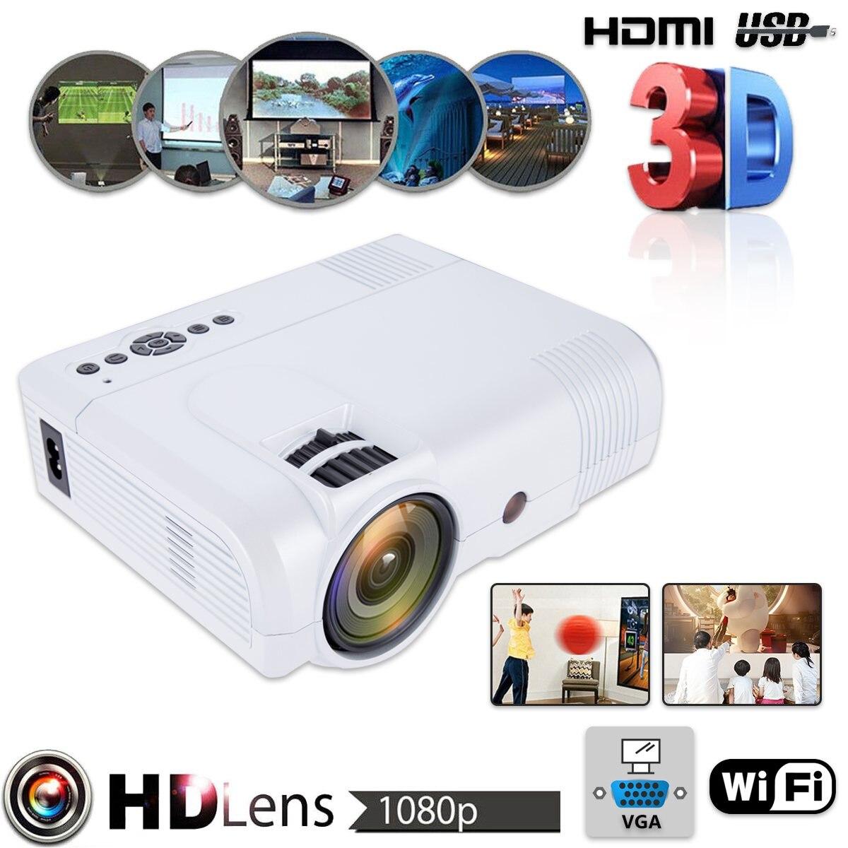 Мини Портативный Проектор Wi Fi версия 1080 P видео Full HD 3D HDMI домашний Театр мультимедийный проектор US/UK/ ЕС Plug