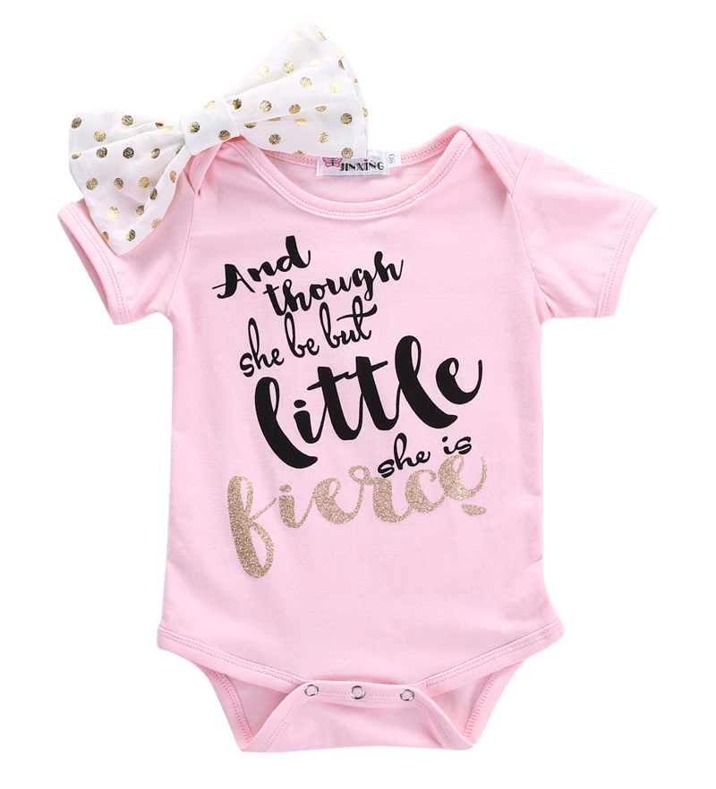 New Casual Newborn Infant Baby Girls Letters   Romper   Short Sleeve Jumpsuit Headband 2Pcs Outfits