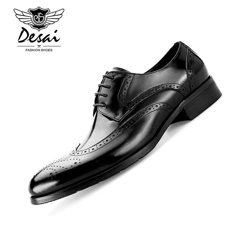 Desai männer Echte Leder Schuhe Rindsleder Vintage Bullock Geschnitzt England Stil Schuhe männer Casual Leder Schuhe EURO Größe 37 45-in Formelle Schuhe aus Schuhe bei  Gruppe 1