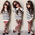 2016 младенцев детская одежда ( полосатый майка + цветок леггинсы брюки ) детей 2 шт. комплект мода девушки одежду полный рукав пальто
