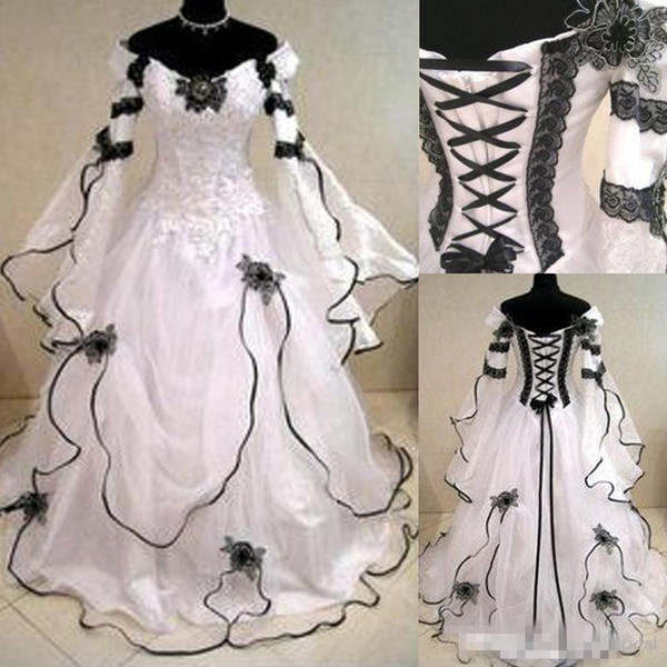 Us 14362 21 Offvintage Plus Size Gothic Ball Gown Wedding Dresses With Long Flare Sleeves Black Lace Corset Back Victorian Bustle Bridal Gowns In