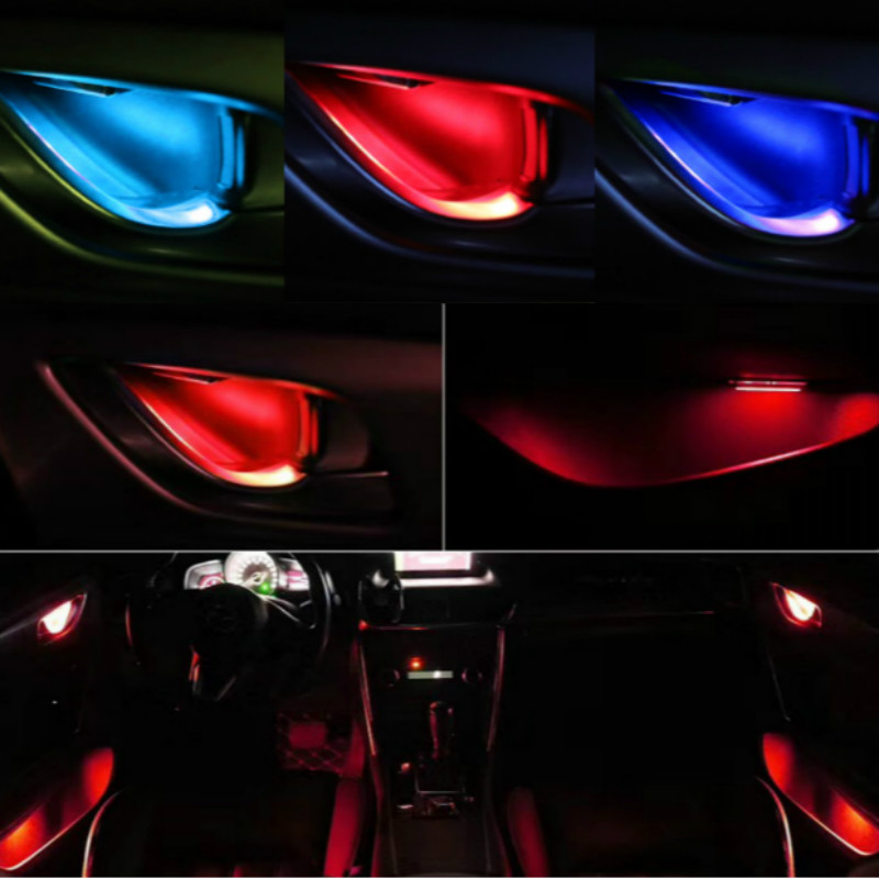 JURUS 4Pcs Universal LED Inner Bowl Light Armrest Door Handle Lighting Handrail Lights Decorative Lamp Bulb Interior Car Lights