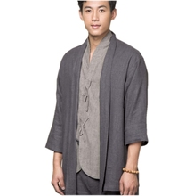 1a7690331aa ZanYing Men Buddhist Linen Shirt Blouse Monk Outfit Blue Brown ZYS282(China)
