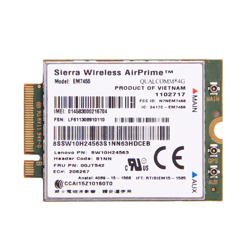 For Lenovo X260 T460 P50 P70 L560 X1 Carbon Sierra Wireless Airprime EM7455 QUALCOMM GOBI6000 4G LTE WWAN Module IBM FRU:00JT542 sierra mc7750 lte solution 4g wwan module for thinkpad t430 t430i series fru 04w3791